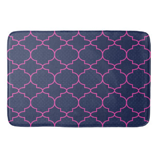 Navy Blue Pink Moroccan Pattern With Polka Dots Bath Mat