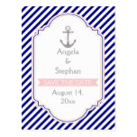 Navy blue, pink nautical wedding Save the Date Postcard