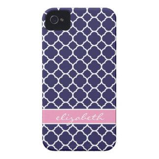 Navy Blue & Pink Quatrefoil Custom Monogram iPhone 4 Case