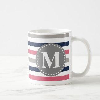 Navy Blue Pink Striped Pattern Monogram Basic White Mug