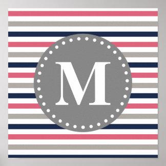 Navy Blue Pink Striped Pattern Monogram Print