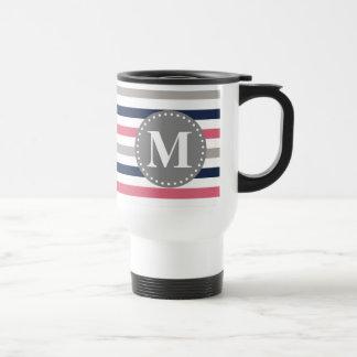 Navy Blue Pink Striped Pattern Monogram Stainless Steel Travel Mug