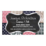 Navy Blue, Pink, Tan, and Grey Cute Quilt look Pack Of Standard Business Cards
