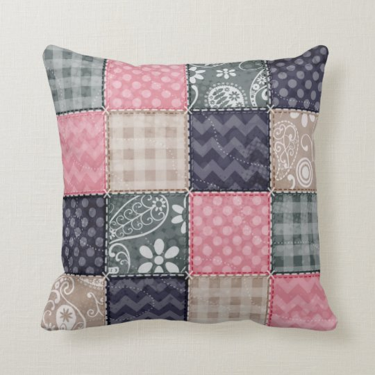 Navy Blue, Pink, Tan, and Grey Cute Quilt