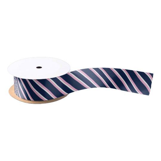 Navy Blue Pink & White Preppy Diagonal Stripes