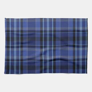 Navy Blue Plaid Tartan Towels