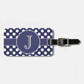 Navy Blue Polka-Dot Monogrammed Luggage Tag