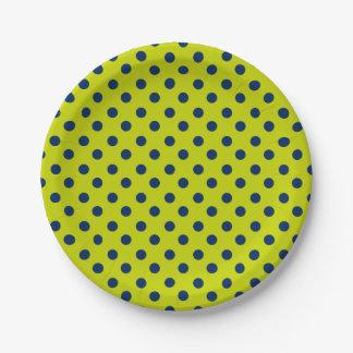 Navy Blue Polka Dot on Lime Green Paper Plate