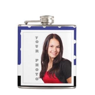 Navy blue polka dot photo template hip flask