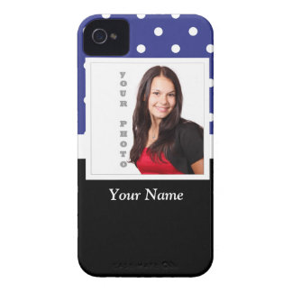 Navy blue polka dot photo template iPhone 4 Case-Mate case