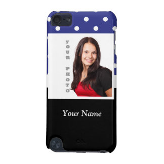 Navy blue polka dot photo template iPod touch (5th generation) covers