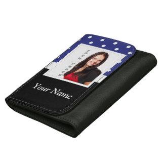 Navy blue polka dot photo template wallet for women