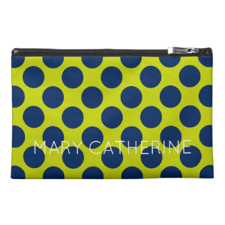 Navy Blue Polka Dots on Lime Green Personalized Travel Accessory Bags