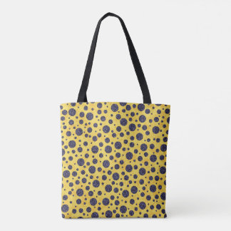 Navy Blue Polka Dots on Yellow circles Tote Bag