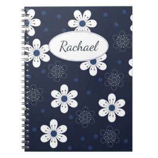 Navy Blue Pretty Floral Notebooks