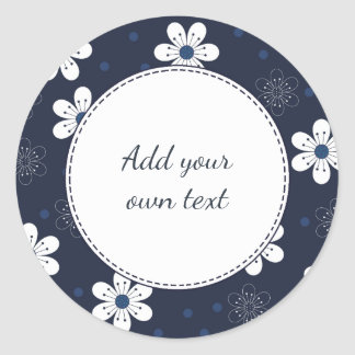 Navy Blue Pretty Floral Round Sticker