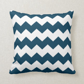 Navy Blue / Prussian Blue Chevron Pattern Cushion
