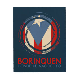 Navy Blue Puerto Rico Borinquen Wood Prints