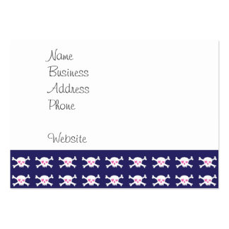Navy Blue Purple Pink Punk Rock Skulls Pattern Pack Of Chubby Business Cards