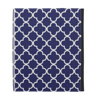 Navy Blue Quatrefoil iPad Case