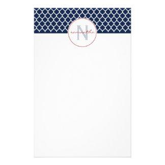 Navy Blue Quatrefoil Monogram Stationery