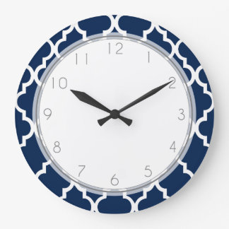 Navy Blue Quatrefoil Pattern Clocks