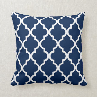 Navy Blue Quatrefoil Pattern Cushion
