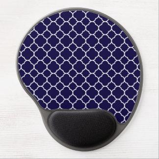 Navy Blue Quatrefoil Pattern Gel Mouse Mat