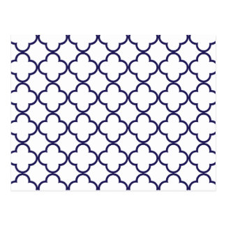Navy Blue Quatrefoil Pattern Postcard