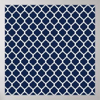 Navy Blue Quatrefoil Pattern Poster