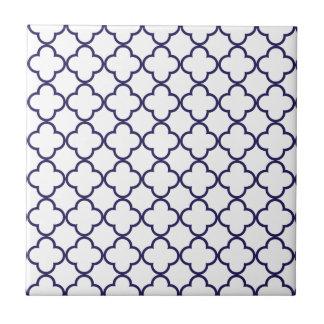 Navy Blue Quatrefoil Pattern Tile