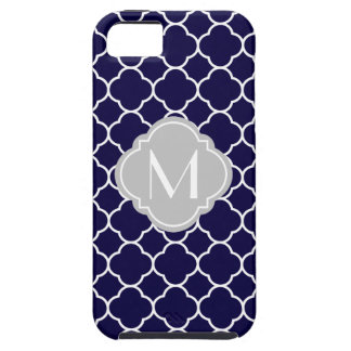 Navy Blue Quatrefoil Pattern with Monogram Case For The iPhone 5