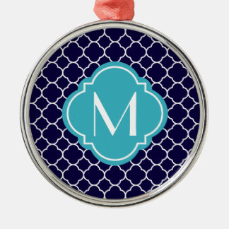 Navy Blue Quatrefoil Pattern with Monogram Christmas Ornament