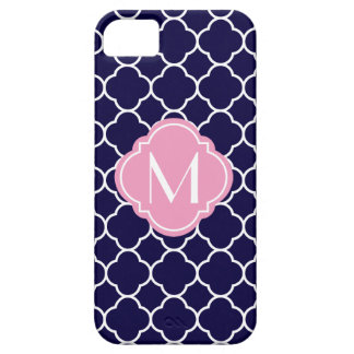 Navy Blue Quatrefoil Pattern with Monogram iPhone 5 Case