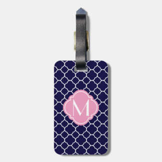 Navy Blue Quatrefoil Pattern with Monogram Luggage Tag