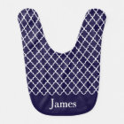 Navy Blue Quatrefoil Personalised Baby Bib