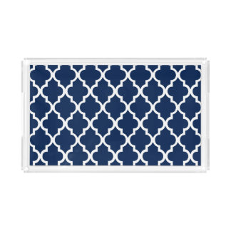 Navy Blue Quatrefoil Tiles Pattern