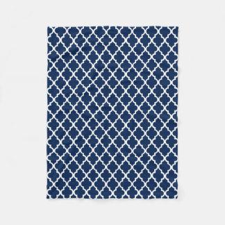 Navy Blue Quatrefoil Tiles Pattern Fleece Blanket