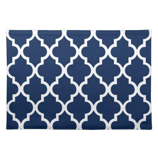 Navy Blue Quatrefoil Tiles Pattern Placemats