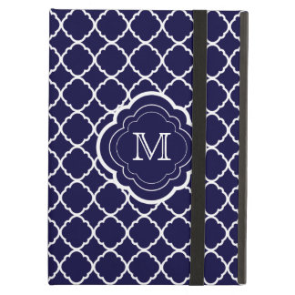 Navy Blue Quatrefoil with Monogram iPad Air Covers