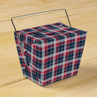 Navy Blue, Red and Grey Sporty Plaid Favour Boxes