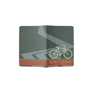 NAVY BLUE RED FELT PATCHWORK BIKE BICYCLE MONOGRAM PASSPORT HOLDER