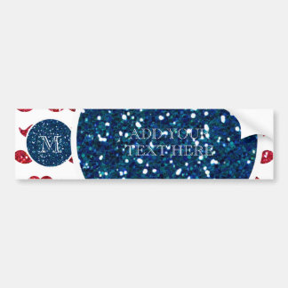 Navy Blue Red Glitter Mustache, Your Monogram Car Bumper Sticker