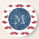 Navy Blue Red Glitter Mustache, Your Monogram Coaster