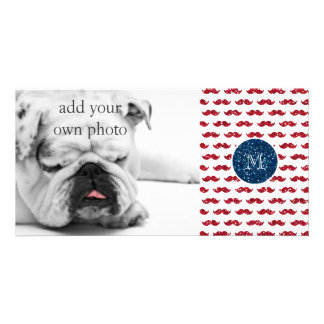 Navy Blue Red Glitter Mustache, Your Monogram Photo Greeting Card
