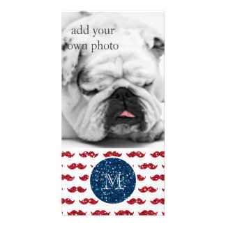 Navy Blue Red Glitter Mustache, Your Monogram Photo Cards