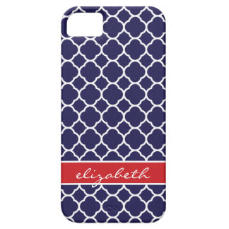 Navy Blue & Red Quatrefoil Custom Monogram iPhone 5 Case