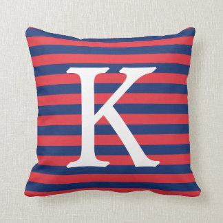 Navy Blue & Red Stripes Monogram Cushion