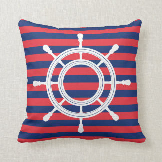 Navy Blue & Red Stripes - White Rudder Cushion