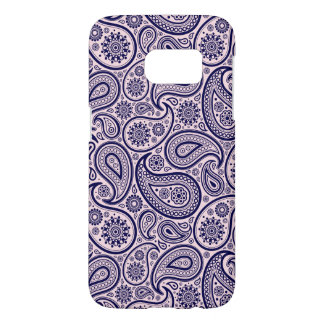 Navy Blue Retro Paisley Over Pink Background